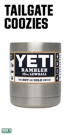 With double-wall vacuum insulation, the Yeti 10oz. Rambler Lowball coozie won't sweat or leave water rings on tables. Keeps cold things cold. And hot things hot. 18/8 stainless steel means an easy clean finish that's built to last. Now that's a tailgate champ!
