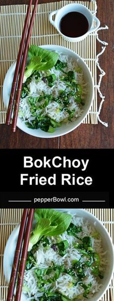 Bok Choy Fried Rice made with Basmati rice, a flavorful and colorful dish. The ingredients and the procedure is very simple and easy. A great recipe for the left over rice. Saves tonnes of money by making the restaurant's style food at home with so much of ease. | http://pepperbowl.com via /pepperbowl/