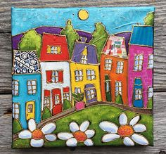 Original acrylic painting and mixed media on canvas, Colourful Italy houses and flowers , 6 x 6 by artist Isabelle Malo acrylic painting and mixed media on canvas, paper and texture. Signed and dated by Isabelle Malo Color may vary one screen to another I can do international delivery,
