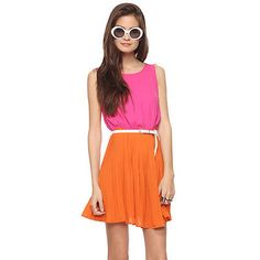 Forever 21 Coral Hot Pink Fuchsia Colorblock Pleated A line Skater Day Dress S
