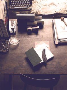 vintage. writer's desk. art.