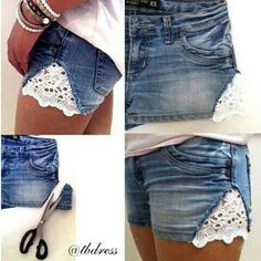 DIY lace addition to shorts. Use it to dress up cut off jeans