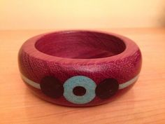 Purple heart Bracelet with Turquoise and black inlay