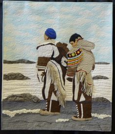 Veronica Puskas, who grew up in Nunavut's Kivalliq region, won an award at Quilt Canada's national juried show for a quilt based on a photo of her mother and grandmother at the Meliadine River near Rankin Inlet in Star Quilts, Easy Quilts, Verona, Quilts Canada, Inuit People, Landscape Art Quilts, Inuit Art, Canadian Art, Dutch Artists