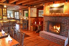 Tavern at the Essex Inn (Essex, NY).  Double sided fireplace.  Rustic beauty and elegance.
