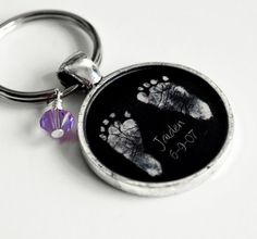 Babys Footprints and Birthstone Keepsake Resin Pendant Keychain- Valentines Day, Mothers Day, New Baby