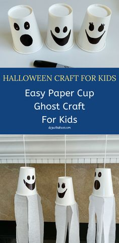 Halloween Ghost Craft For Kids - DIY With Devon. This easy Halloween craft project will keep your kids entertained this fall. Halloween Ghost Craft For Kids - DIY With Devon. This easy Halloween craft project will keep your kids entertained this fall. Halloween Party Snacks, Halloween Tags, Halloween Arts And Crafts, Diy Halloween Decorations, Holiday Crafts, Fall Halloween, Thanksgiving Crafts, Halloween Projects, Pinterest Halloween Crafts