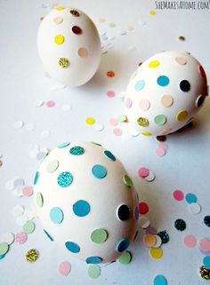 Confetti covered Easter eggs- 20 Creative and Easy DIY Easter Egg Decorating Ideas