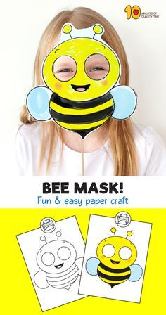 Bee Printable Mask Template Easter Bunny Colouring, Bunny Coloring Pages, Bee Template, Mask Template, Printable Masks, Printable Paper, Printables, Bee Crafts For Kids, Bees For Kids
