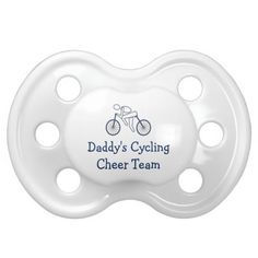 Cycling Cyclist Sport Bike Race Cheer Team This cute girls cycling design pacifier features a cyclist and the text Daddys Cycling Race Cheer Team. Leave text or change if you like. Great for babies, infants, toddlers or kids of a triathlete who are out cheering and coaching mom or dad on for his or her race.
