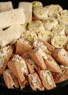 Fancy Tea Sandwiches Tarragon Chicken Salad and More Celebration Generation Food Life Kitties Tee Sandwiches, Tea Party Sandwiches, Rolled Sandwiches, Finger Sandwiches, Chicken Salad Sandwiches, English Tea Sandwiches, Appetizer Sandwiches, Tea Recipes, Cooking Recipes
