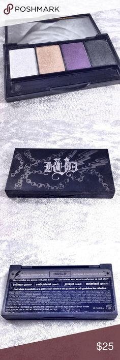 Kat Von D Rock N' Roll Eyeshadow Quad Palette Eyeshadow palette not used but swatched to test color with sanitized brushes. Limited edition now discontinued. No box included. All makeup is authentic. Save the most by bundling. I offer 25% off on bundles of 2+ items. I accept reasonable offers on single items and bundles. Sorry I do not trade or offer holds. Kat Von D Makeup Eyeshadow