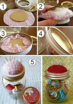 42 Super Ideas Sewing Kit Diy Storage Pin Cushions 42 Super Ideas Sewing Kit Diy Storage Pin CushioYou can find Pin cushions . Mason Jar Projects, Mason Jar Crafts, Diy Projects, Mini Mason Jars, Diy Cadeau Maitresse, Pincushion Tutorial, Diy Cushion, Sewing Pillows, Diy Pins