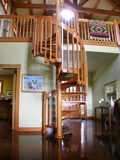 A very nice, very simple and elegant spiral stair done entirely in CVG (clear, vertical grain) Douglas Fir. While not at the grand scale of many of o… Stairs To Heaven, Staircase Design, Craftsman Style, Stairways, Home Renovation, New Homes, Stair Case, Spiral Staircases, Cottage