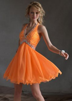 Sticks & Stones Mori Lee 9247 - Neon Orange Beaded Halter Homecoming Dress