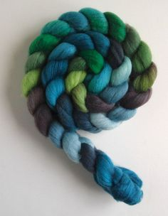 "Polwarth/Silk Roving Top ""Ohio Storm"" Handpainted Spinning by threewatersfarm"