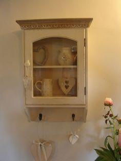 Country cream shabby vintage chic glazed glass wall unit cabinet cupboard hooks   eBay Shabby Vintage, Shabby Chic, Open Shelving, Shelves, Glazed Glass, Wall Cupboards, Hooks, House Ideas, New Homes