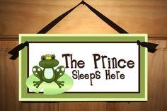 Frog Prince Boys Baby Nursery Bedroom DOOR SIGN Wall Art Decor. $14.00, via Etsy.