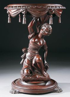 690: A VICTORIAN FIGURAL CARVED MAHOGANY PARLOR TABLE : Lot 690