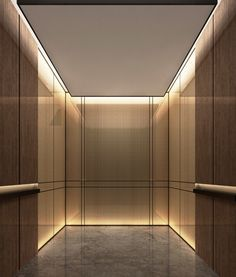 elevator cab- pulp studio glass panels with bronze woven metal mesh