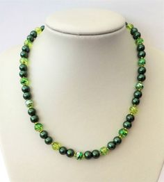 Dark green pearl, lime green and silver glass bead necklace. Gift or treat