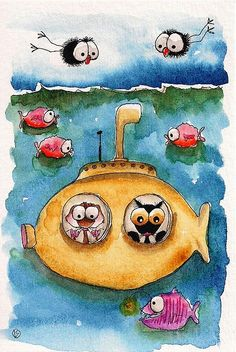 THE YELLOW SUBMARINE - STRESSIE CAT & MOUSE TRAVEL UNDER THE SEA! BY LUCIA STEWART<3<3<3