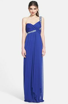 Way-In Embellished One-Shoulder Chiffon Gown (Juniors)   Nordstrom
