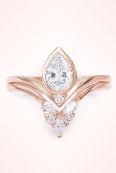 Rose Gold Unique Pear Diamond Engagement Rings Set Gorgeous LOVE HANDMADE by Silly Shiny Diamonds
