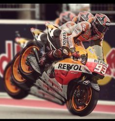 Stoppie! Marc Marquez with a celebratory stoppie after finishing 1st at Austin - a massive 4 seconds ahead of teammate dani pedrosa 2014