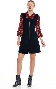 DONATELLO QUILTED SPOT ZIP FRONT SCOOP NECK TUNIC DRESS IN NAVY