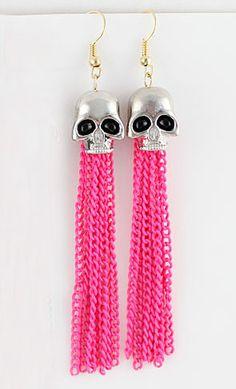 Red Chain Tassel Skull Dangle Earrings US$7.01