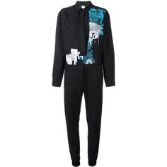 Kilometre printed jumpsuit ($1,325) ❤ liked on Polyvore featuring jumpsuits, blue, cotton jumpsuit, jump suit, blue jumpsuit and blue jump suit