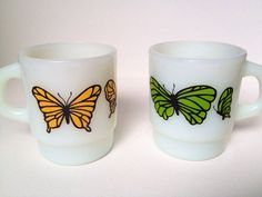 2 Butterfly Anchor Hocking / Fire King stackable mugs on Etsy, $18.50