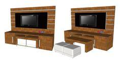 Projeto mobiliário - Rack com painel e mesa de centro