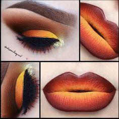 Stunning orange and yellow ombre lip art by @depechegurl! More: http://blog.furlesscosmetics.com/depeche-gurl/