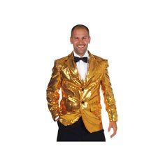 Luxe gevoerd colbert voor heren, voorzien van gouden pailetten. Het luxe gouden kostuum jasje is gemaakt van brandvertragend materiaal en heeft een normale pasvorm. Het materiaal van deze luxe gouden jas is 100% polyester. Met dit luxe gouden colbert voor heren maakt u een indrukwekkende verschijning op uw feesten en party's.