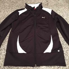 Puma Black/White Zip Up Jacket S Like brand new zip up jacket with pockets! 100% polyester. All offers considered. Also found on ♏️ Puma Tops Sweatshirts & Hoodies