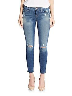 J BRAND Distressed Skinny Cropped Jeans - Chrome - Size 31 (10)