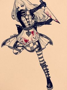 P fan art Alice in Alice Madness Return game , she is very very cool and love to play that game all the time . i will draw an background a. Alice Liddell, Alice Madness Returns, Chibi, Chesire Cat, Samurai, Dark Art Drawings, Chica Anime Manga, Disney, Were All Mad Here