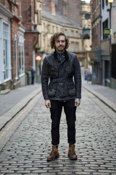 Barbour People — We spotted Sam wearing his Barbour International. Cool Street Fashion, Street Style, Barbour Jacket, Barbour International, Belstaff, Mens Fashion, Fashion Outfits, Sports Jacket, Traditional Dresses