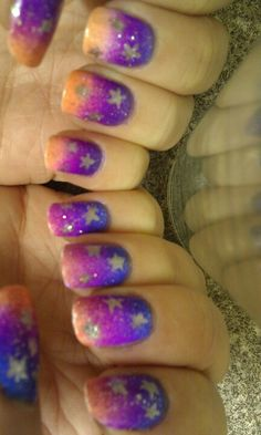 Ombre stars nails