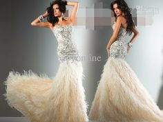 2013 New Sexy Sweetheart Stunning Prom Dresses Crystals Top Feather Luxurious Evening Dresses 113C29 US $560.00