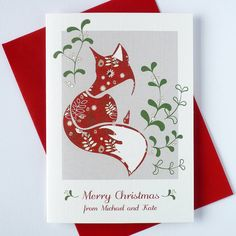 10 personalised christmas cards with fox by ink pudding | notonthehighstreet.com