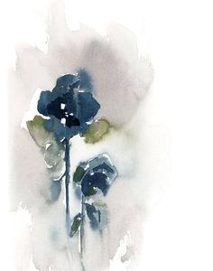 Abstract Botanical Print Set, Wall Art Prints, Set of 2, Blue Grey Prints, Modern watercolor painting art, home decor, white background PRINT DETAILS: printed on Epson art printer specialised in museum quality printing, on heavy weight archival (acid free, special coated,