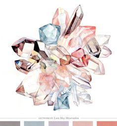 Rose Celestite Quartz artwork by Lara May Meyerratken via Creature Comforts Blog