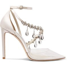 Off-White C/O Jimmy Choo Victoria 100 crystal-embellished satin and... ($2,065) ❤ liked on Polyvore featuring shoes, pumps, heels, crystal, jimmy, white satin pumps, off white shoes, off white pumps, white high heel pumps and strappy pumps