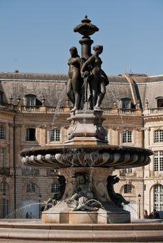 """The fountain of """"Trois Grâces,"""" Place de la Borse, Bordeaux Travel Sights, Europe Travel Tips, Travel Destinations, Cities, Lyon, Belle Villa, Dordogne, Adventure Is Out There, France Travel"""