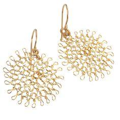 Small Flower Earrings , Gold Dangle Earrings , small Flowers , Handmade Wire Crochet Jewelry