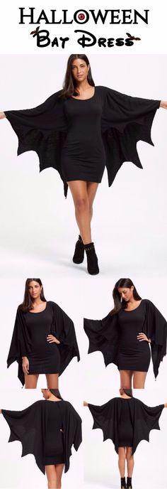 Halloween Bat Dress   Only $12.47   Halloween Long Sleeve Bodycon Dress with Bat Wings - Black   Sammydress.com