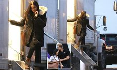 Meghan Markle is pictured on the set of Suits